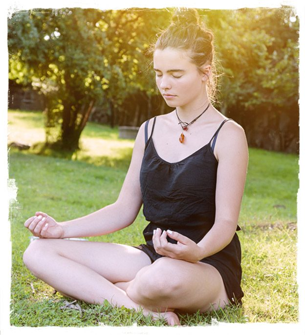 teen meditating