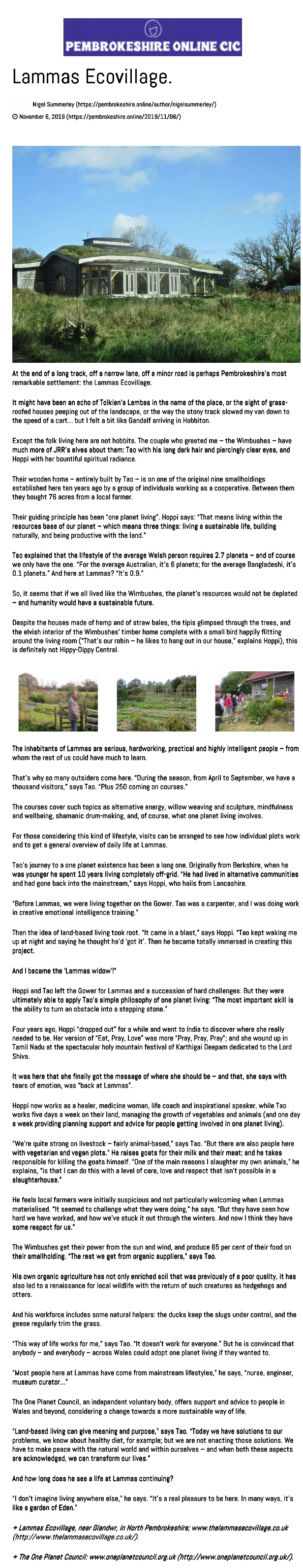 Lammas ecovillage article